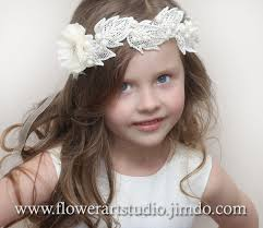 white flower headband ivory or white flower girl crown girl hair wreath baby