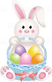 rabbit easter basket bunny holding eggs easter basket stock vector 506215480 istock