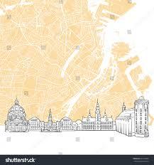 Copenhagen Map Copenhagen Denmark Skyline Map One Color Stock Vector 625153034