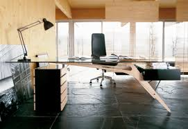Modern Office Table With Glass Top Glass Top With Wooden Bases Large Modern Home Office Desk Design