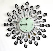 home design metal hanging wall clock with attached fitted