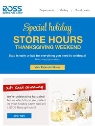 ross special thanksgiving weekend hours milled