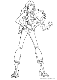 winx club color page coloring pages for kids cartoon