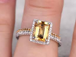 citrine engagement rings 2pcs bridal ring set 6x8mm emerald cut citrine engagement