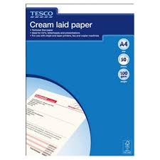 buy tesco a4 executive laid letter paper cream 50 sheets