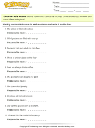 uncountable nouns worksheet turtle diary