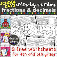 back to fractions and decimals color by number free worksheets