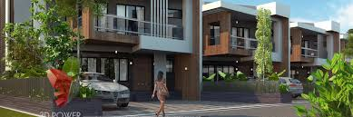 Row Houses Elevation - 3d architectural rendering company 3d visualization animation
