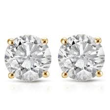 gold diamond stud earrings 1ct diamond stud earrings in 14k yellow gold with
