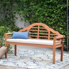 belham living kimbro lutyens outdoor wood bench with cushion