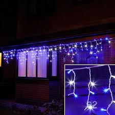 blue white christmas lights outdoor led icicle lights connectable white rubber cable