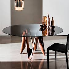 contemporary dining table glass oak walnut lambda by