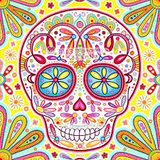 sugar skull art colorful day of the dead art by thaneeya mcardle