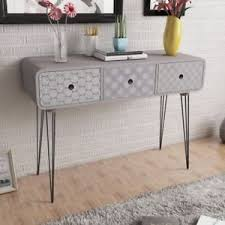 Retro Console Table Retro Side Cabinet Console Table With 3 Drawers Grey Hallway