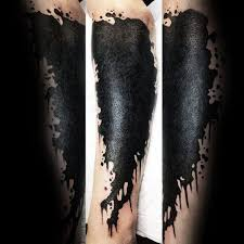 black ink paint splatter guys tattoo cover up ideas on leg