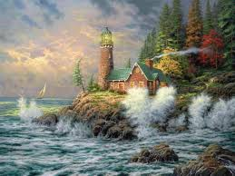 lighthouse pictures thomas kinkade bing images painter of
