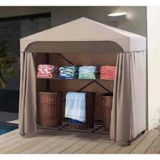 Extra Space Storage Boxes Outdoor Modern White Solid Wood Pool Powel Storage White
