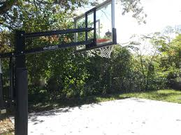 there is a back side view of the goal in the backyard