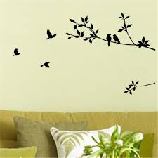 Tree Branch Home Decor by Acefast Inc Stickers 1 X Birds Flying Black Tree Branches Wall