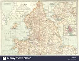 Liverpool England Map by England Wales N Shows Civil War Of The Roses Barons Wars Stock