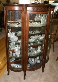 1920 S China Cabinet antique china cabinets walnut triple bow front antique china