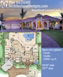 Mediterranean Homes Plans Plan 66316we Magnificent Covered Lanai Mediterranean House
