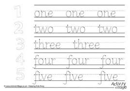 number word handwriting worksheets