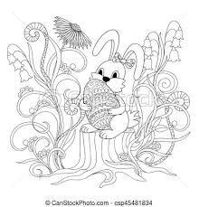 vectors of bunny sitting on the stump with ornamental