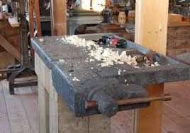 antique work bench with end vise
