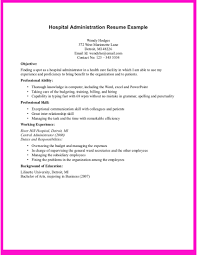 Admin Resume Examples Example For Hospital Administration Resume Example For Hospital