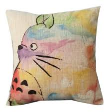 Totoro Home Decor by Binny Beige Back Cotton Line 18 18in Square Hand Painted Colorful