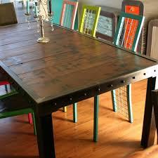 cuisine bois acier table salle à manger bois et bords métal table salle à manger