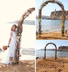 Wedding Arches Beach Destination Wedding Malta Golden Bay Lanterns Orange
