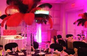 black and red feather centerpiece plan a party mare full