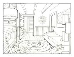 1 point perspective living room home design