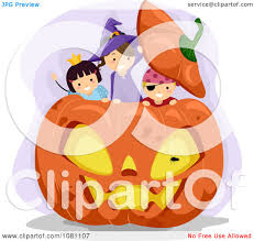 clipart halloween stick kids playing in a giant jackolantern