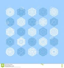 christmas snowflake decoration set on blue stock vector image
