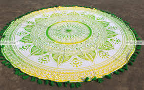 round picnic table cover yellow green ombre round cover