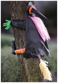 broom crash witch outdoor halloween decoration ideas