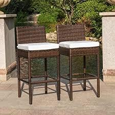amazon com sundale outdoor 2 pcs brown wicker counter height bar
