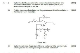 design criteria questions solved 3 explain the barkhausen criteria for sustained