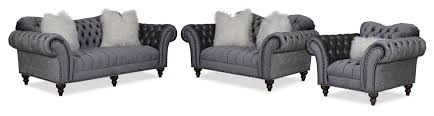 sofa loveseat and chair set brittney sofa loveseat and chair set charcoal american