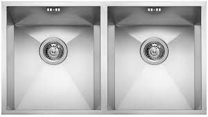 Double Kitchen Sink  Stainless Steel SQUARE  V ELLECI - Square sinks kitchen
