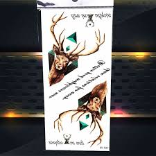 real deer elk face horn temporary tattoo triangle design fake
