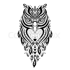 decorative owl tribal pattern ethnic tattoo vector illustration