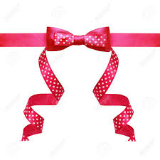 pink polka dot ribbon pink silk polka dot ribbon bow isolated on white stock photo