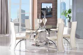 channel 160cm steel u0026 clear glass dining table and 6 faux leather