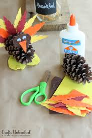 kid friendly thanksgiving crafts turkey craft for kids pine cone turkeys crafts unleashed