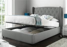 kitchen inspiring upholstered bed frame with storage grey fabric