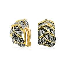 hoop clip on earrings 2 tone braided cable woven half hoop clip on earrings gold plated